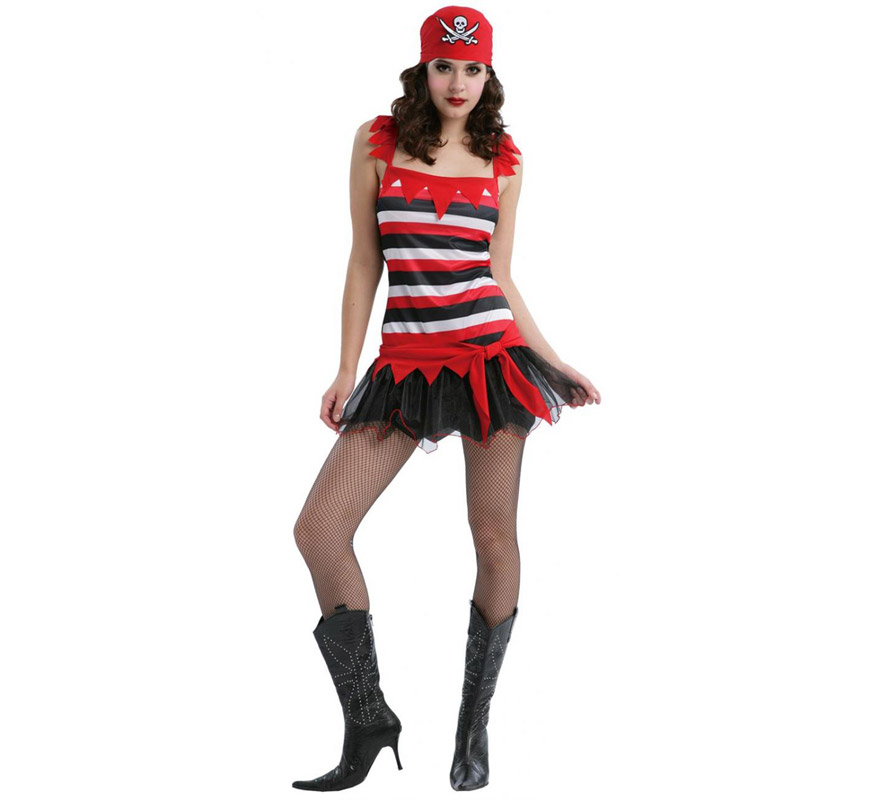 Disfraz de Pirata Sexy adulta. Talla standar M-L = 38/42. Incluye vestido y pañuelo para la cabeza. Un disfraz muy sexy para el Carnaval y fresquito para el verano.