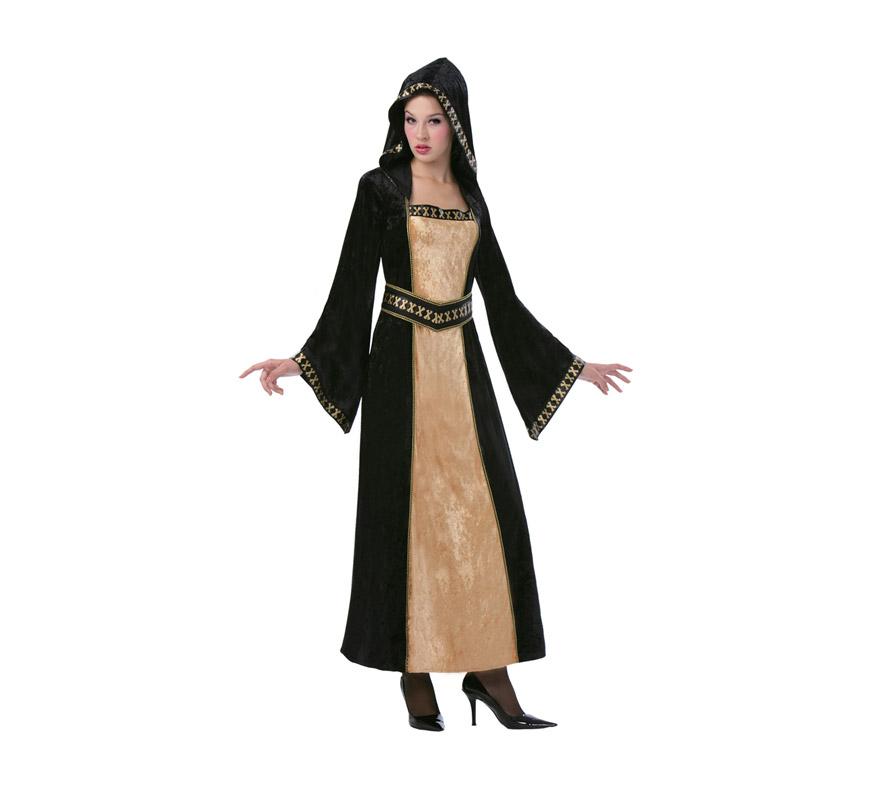 Disfraz de Doncella Gótica Medieval adulta para Halloween. Talla Standar M-L 38/42. Incluye vestido con capucha y cinturón. También serviría como disfraz de Doncella Medieval.