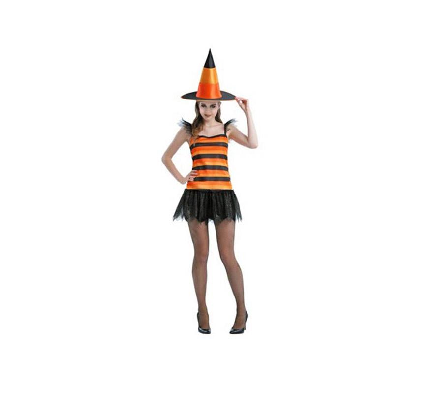 Disfraz de Bruja Corto adulta para Halloween barato. Talla Standar M-L = 38/42. Incluye sombrero y vestido. Medias NO incluidas.
