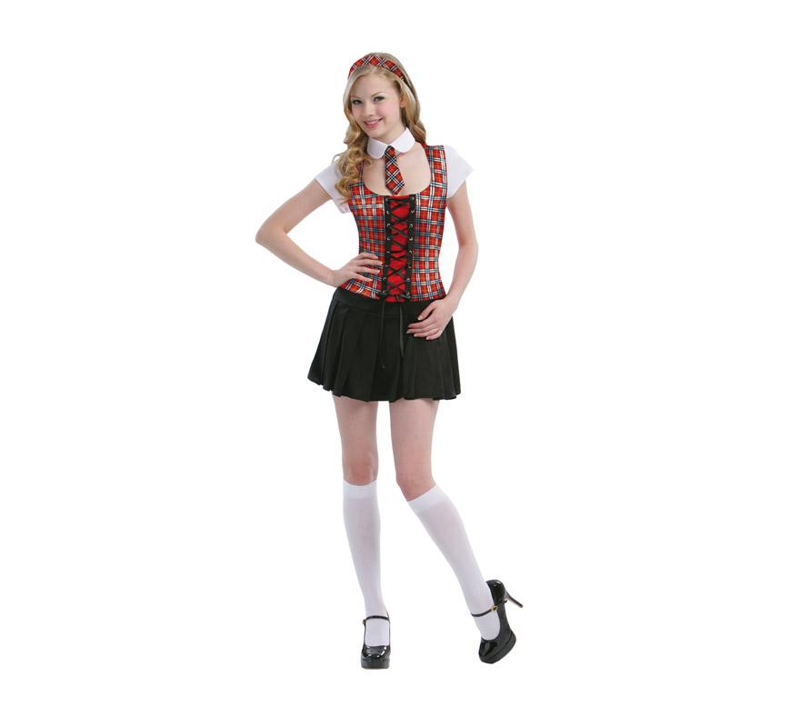 Disfraz barato de Colegiala Sexy para mujer. Talla standar M-L 38/42. Incluye vestido, cuello con corbata y diadema.
