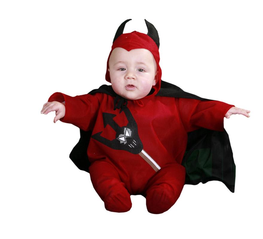Disfraz de Diablillo o Demonio barato para Halloween. Talla de 6 a 12 meses. Incluye gorro y mono con capa.