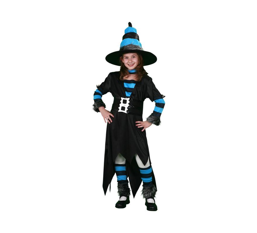 Disfraz de Bruja Caprichosa Económico talla de 7 a 9 años. Incluye sombrero, vestido, cinturón, manguitos, calentadores y gargantilla.