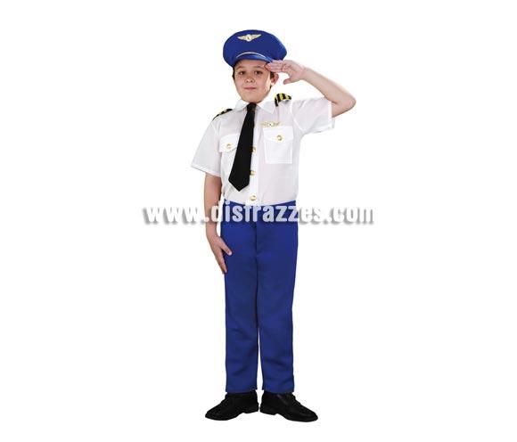Disfraz de Piloto de Aerolínea infantil. Talla de 5 a 6 años. Incluye sombrero, camisa con corbata y pantalones.