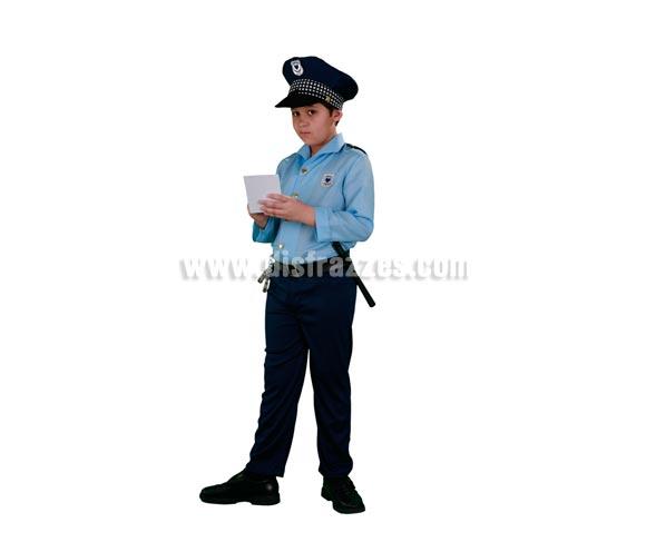 Disfraz de Policía infantil. Talla de 5 a 6 años. Incluye gorra, camisa y pantalón con cinturón. Esposas y porra NO incluidas, podrás verlas en la sección Complementos.