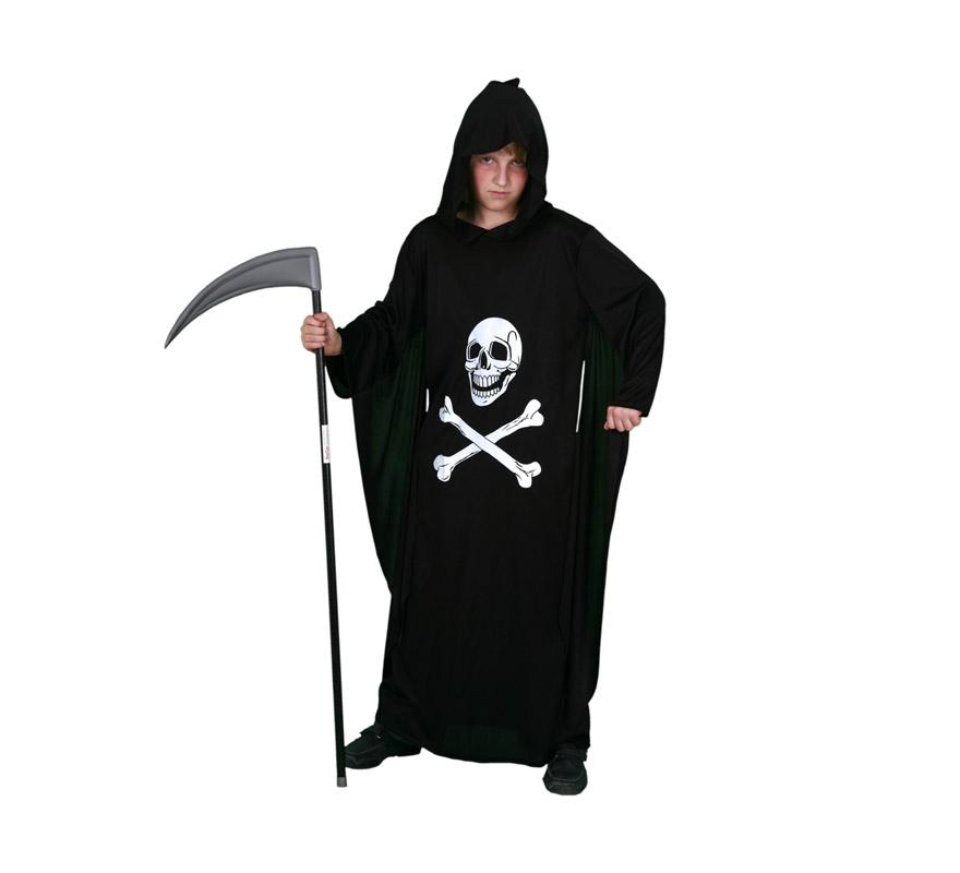 Disfraz de Túnica Muerte Económico talla de 7 a 9 años. Incluye túnica con capucha. Guadaña NO incluida.