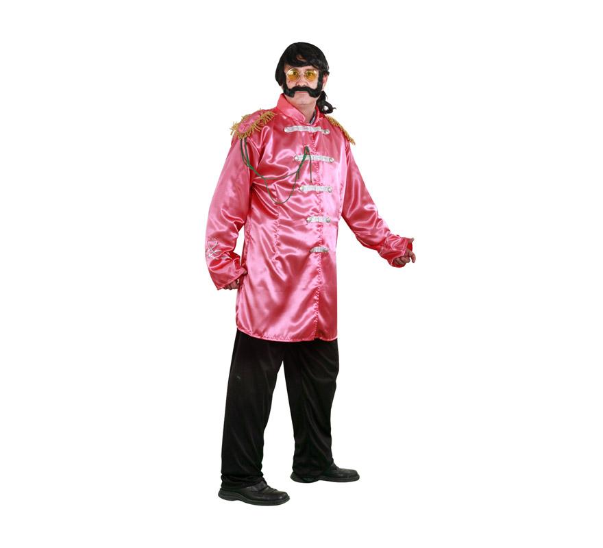 Disfraz barato de Estrella del Pop color salmón adulto. Talla standar M-L = 52/54. Incluye casaca y pantalón. Peluca, bigote y gafas NO incluidos, podrás ver éstos artículos en la sección Complementos. Con éste disfraz irás vestido igual que Los Beatles y serás el centro de la Fiesta.