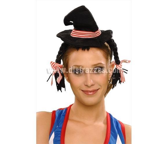 Diadema con trenzas y mini-sombrero pequeño negro de Bruja. Talla Universal. Ideal para Despedidas de Soltera.