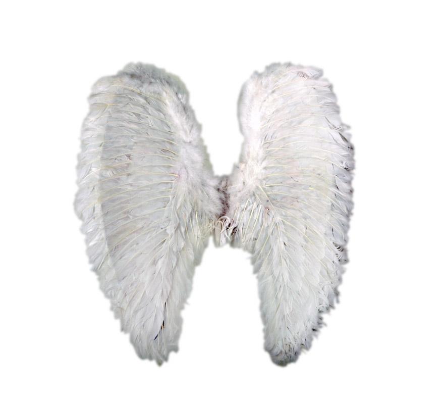 Alas de Angel de plumas blancas de 54x50 cms. Ideales para disfrazar a los niños de Angel en Navidad.