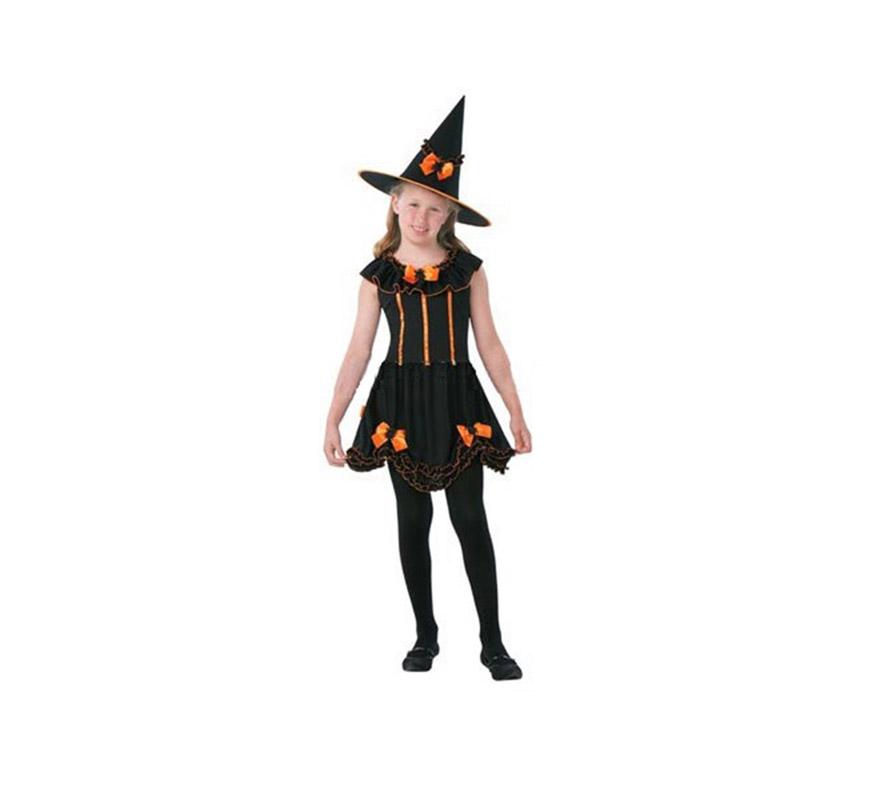 Disfraz de Bruja Corto Niña Económico talla de 5 a 6 años. Incluye sombrero con lazo y vestido. Medias NO incluidas.