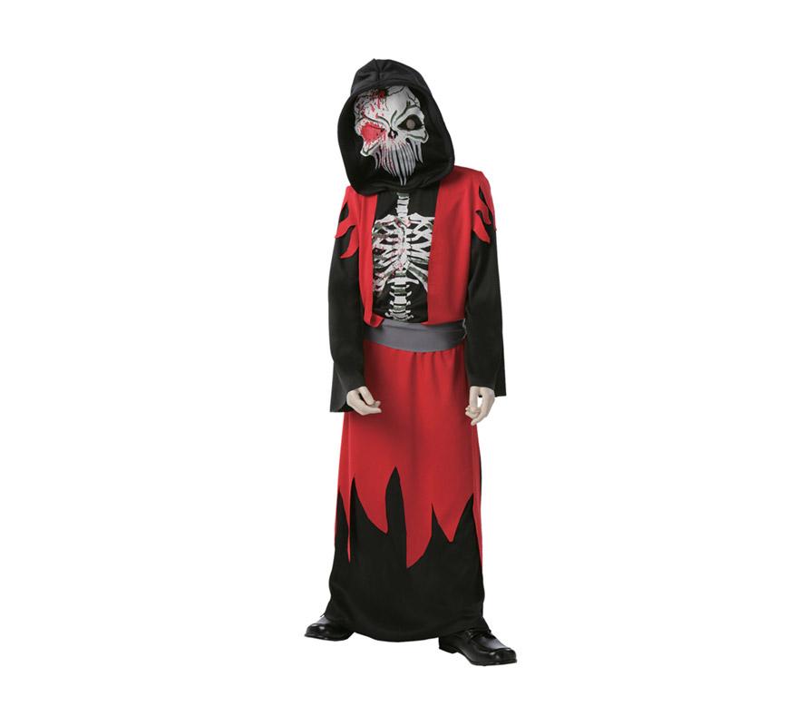 Disfraz de la Muerte Económico talla de 5 a 6 años. Incluye túnica con capucha, máscara, chaleco y cinturón.