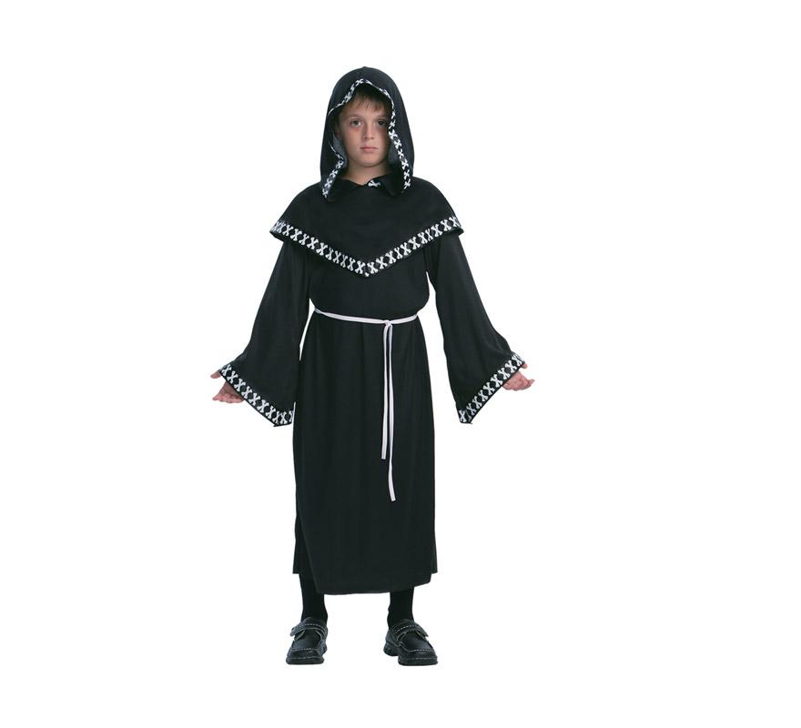 Disfraz de Segador Siniestro infantil barato para Halloween. Talla de 10 a 12 años. Incluye túnica con capucha y cinturón.