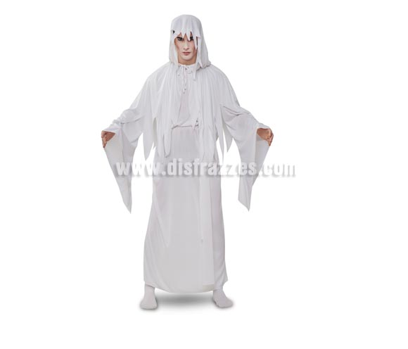 Disfraz de Espíritu Blanco adulto para Halloween. Talla Standar M-L 52/54. Disfraz muy original y llamativo que incluye capa con capucha, cinturón y túnica.