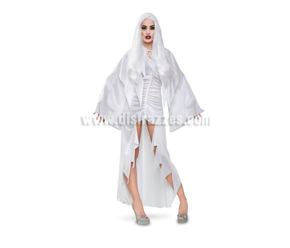 Disfraz de Espíritu Blanco adulta para Halloween. Talla Standar M-L = 38/42. Disfraz de Halloween muy original que incluye vestido y capa con capucha. Peluca NO incluida, podrás verla en la sección de Halloween Pelucas. Zapatos NO incluidos.