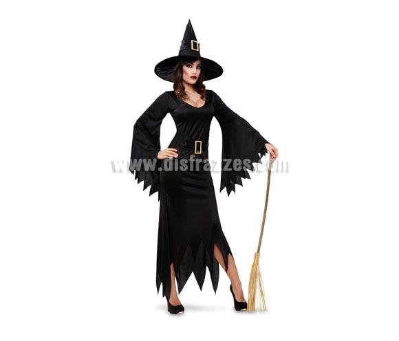 Disfraz de Bruja Negro vestido largo de adulta para Halloween. Talla standar M-L = 38/42. Incluye sombrero y vestido con cinturón. Escoba NO incluida, podrás verla en la sección de Complementos.