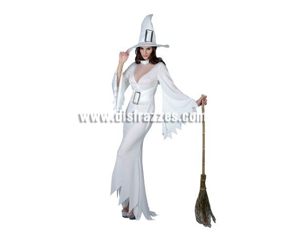 Disfraz de Bruja Blanca vestido largo adulta para Halloween. Talla standar M-L = 38/42. Incluye sombrero y vestido con cinturón. Escoba NO incluida, podrás verla en la sección de Complementos.