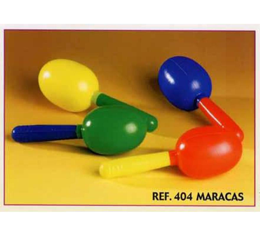 Bolsa de 12 uds. Maracas para Carrozas. Colores variados. También sirve como relleno de Piñatas para los Cumpleaños.