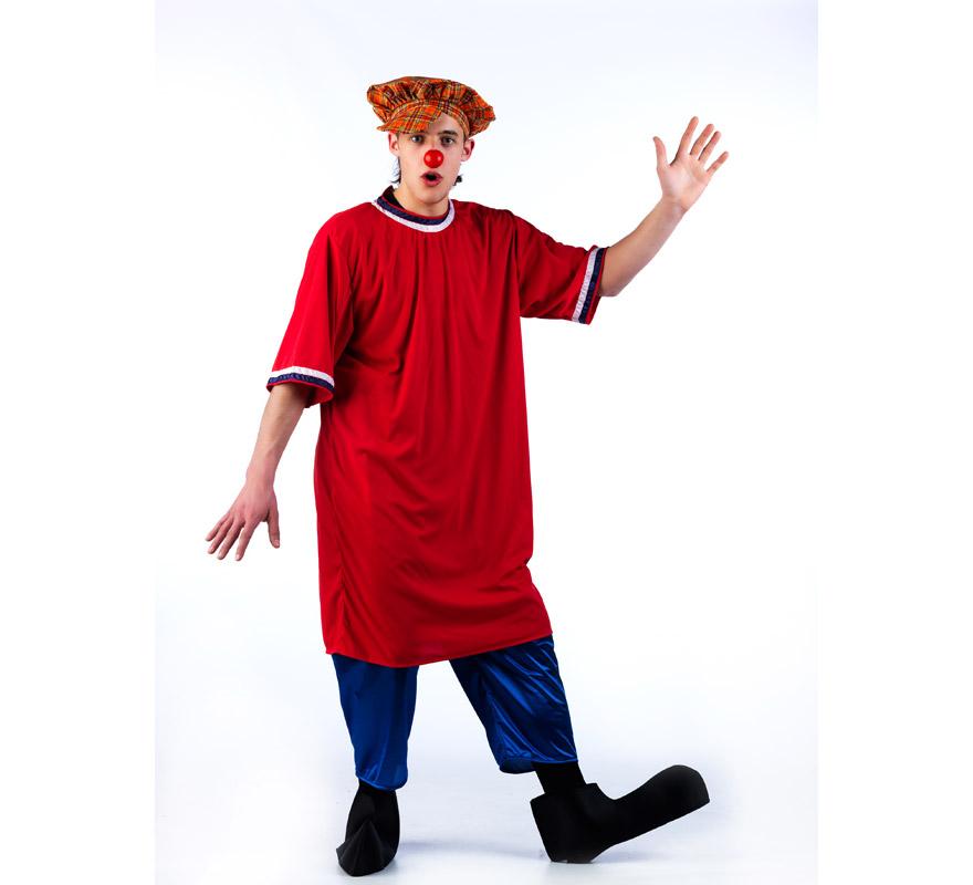 Disfraz de Payaso de la tele CON boina de cuadros para adultos. Talla Universal. Incluye gorra, camisón, pantalón semi corto ( estilo pantalón pirata) y cubrepies. Nariz NO incluida, podrás verla en Complementos. El estampado de la tela de la Boina puede variar, pero siempre será semejante o gracioso para ir en corcondancia con el disfraz.