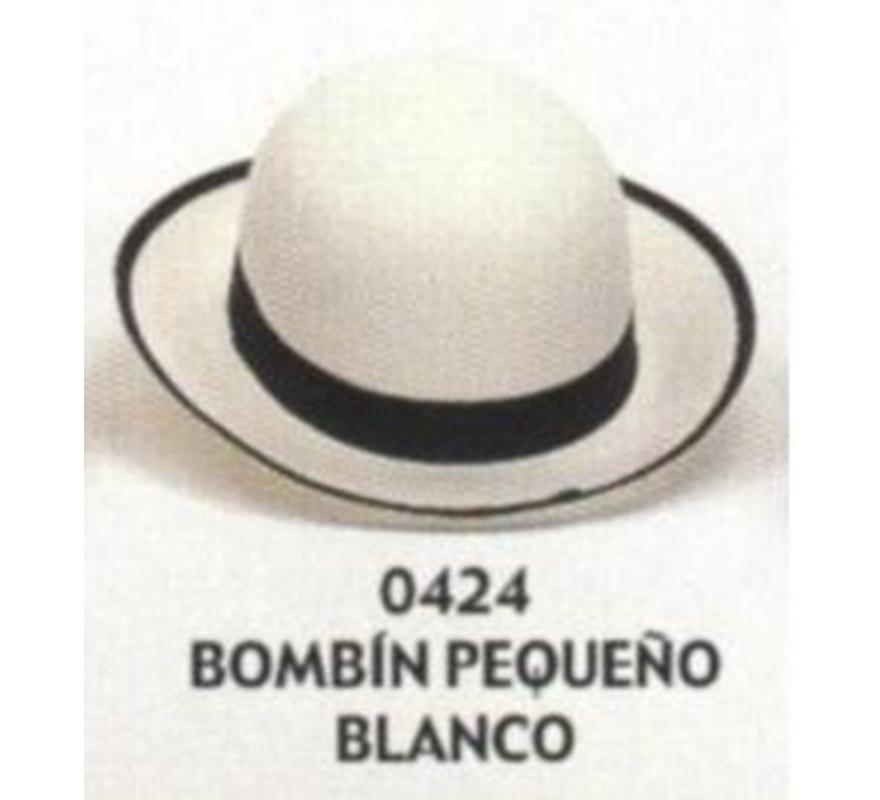 Sombrero Bombín pequeño blanco. Buena calidad, fabricado artesanalmente en España. Posibilidad de ajuste de precio para grupos.