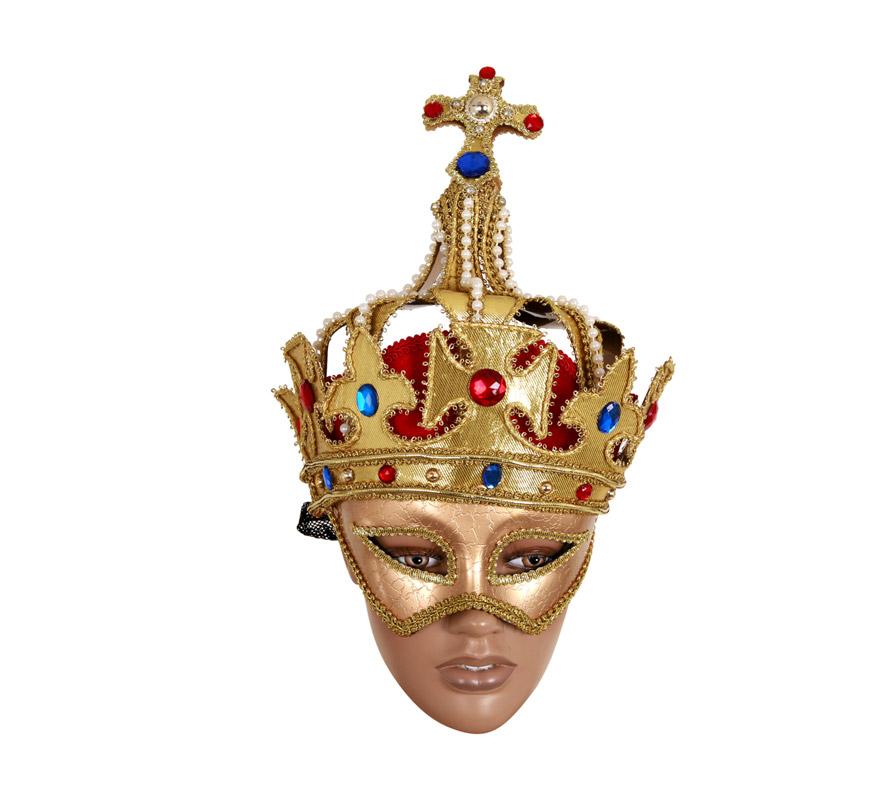 Máscara Veneciana con Corona y Cruz.