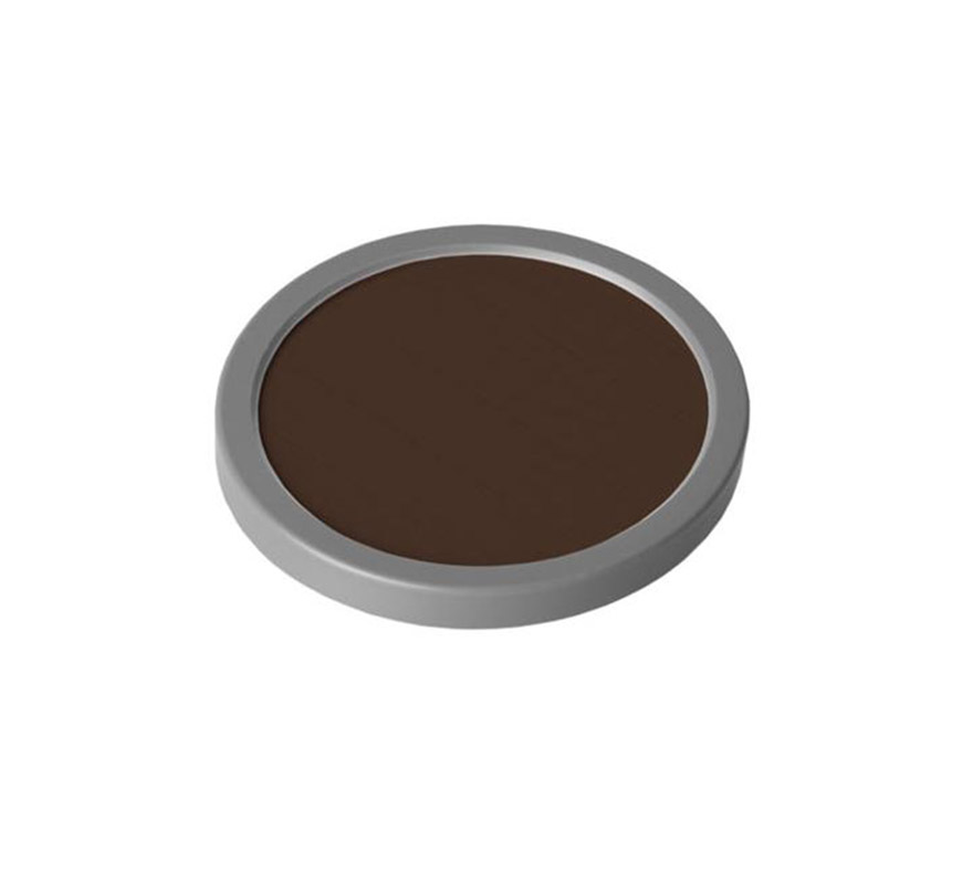 Maquillaje de cake (Cake Make-up), de 35 gr, de color marrón oscuro. Es un maquillaje que da un efecto mate. Se usa como maquillaje cosmético para televisión, películas y fotografía y además se utiliza para teatro tanto en gran escala como pequeña. Cake Make-up es ideal para maquillar grandes áreas del cuerpo y también se puede utilizar como base para pintar, en combinación con el Water Make-up (maquillaje al agua), ya sea Pure o Flourescent.