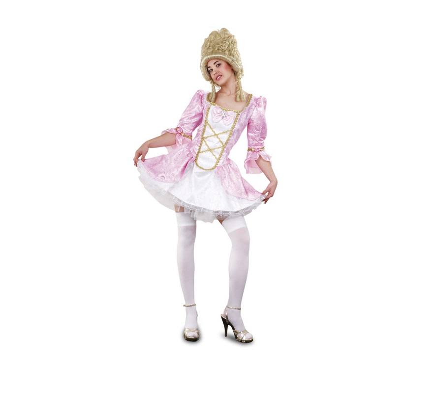 Disfraz de Lady Versalles rosa adulta. Talla standar M-L = 38/42. Incluye vestido y enagua. Peluca y medias NO incluidos, podrás verlos en la sección Complementos. Disfraz de Época Sexy para mujer.