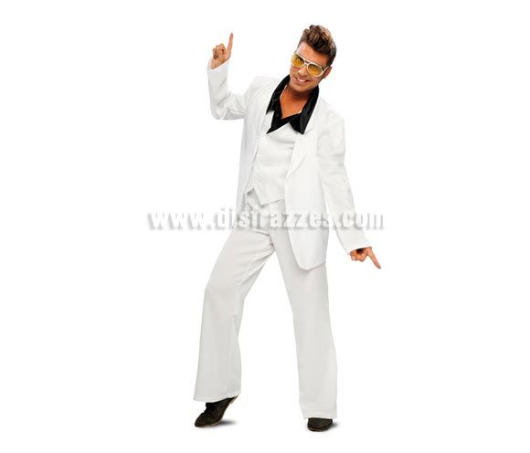 Disfraz de Rey de la Disco o Discotequero años 70 adulto. Talla 52/54. Incluye chaqueta, chaleco con cuello y pantalones. Gafas NO incluidas, podrás verlas en la sección de Accesorios.