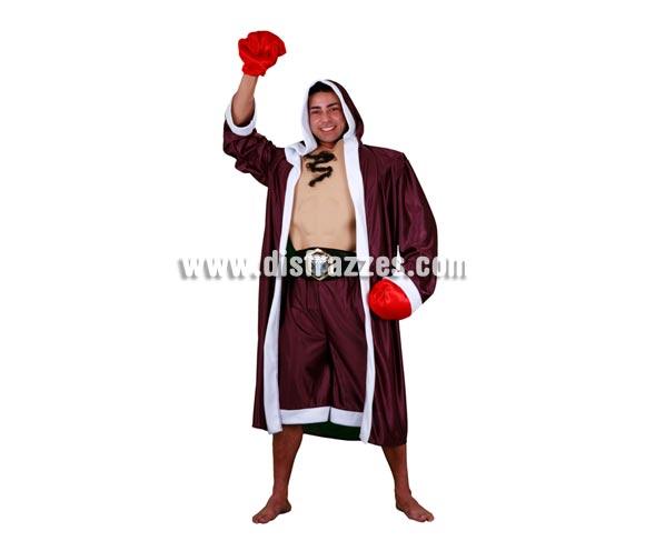 Disfraz de Boxeador adulto. Talla standar M-L = 52/54. Incluye bata con capucha, pecho con músculos, calzones, cinturón y guantes por eso se sube un pelín de precio pero así y todo está muy bien y no es caro.