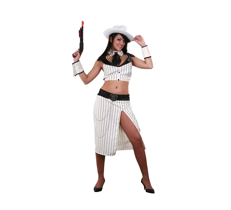 Disfraz de Ganster femenina Glamour adulta. Talla standar M-L = 38/42. Incluye top, falda, cuello con corbata, sombrero y puños. Arma NO incluida.