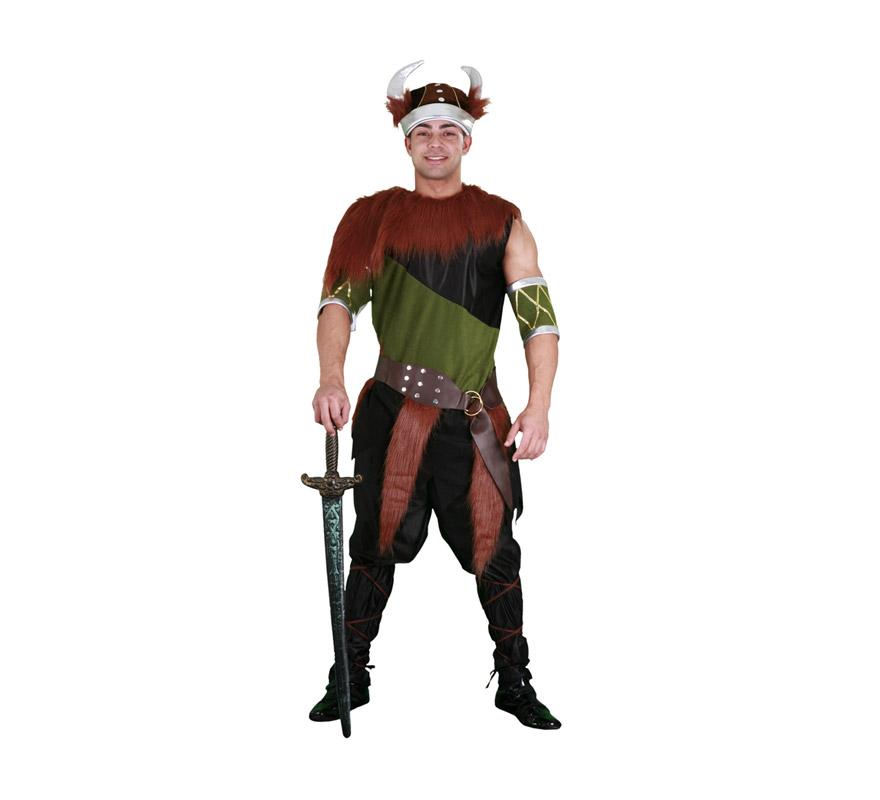 Disfraz de Vikingo verde para hombre. Talla standar M-L = 52/54. Incluye camiseta, cinturón, gorro, pantalones, cubrebrazos y cintas para las piernas. Espada NO incluida. Éste es un disfraz de Bárbaro para hombre que está muy bien por su diseño y calidad.