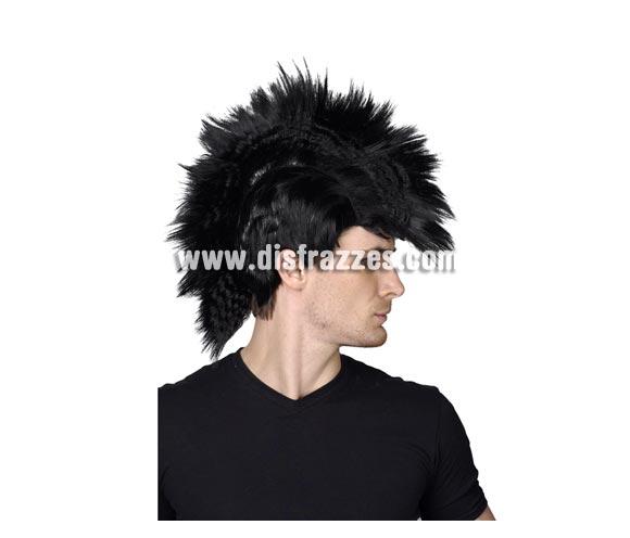 Peluca de Punky con cresta negra. Perfecta para los disfraces de Punky y de Rockero.