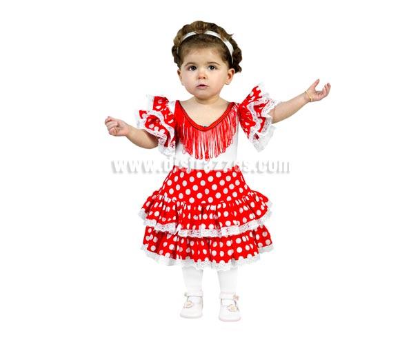 Disfraz barato de Flamenca rojo infantil para Carnaval. Talla de 5 a 6 años. Incluye vestido.