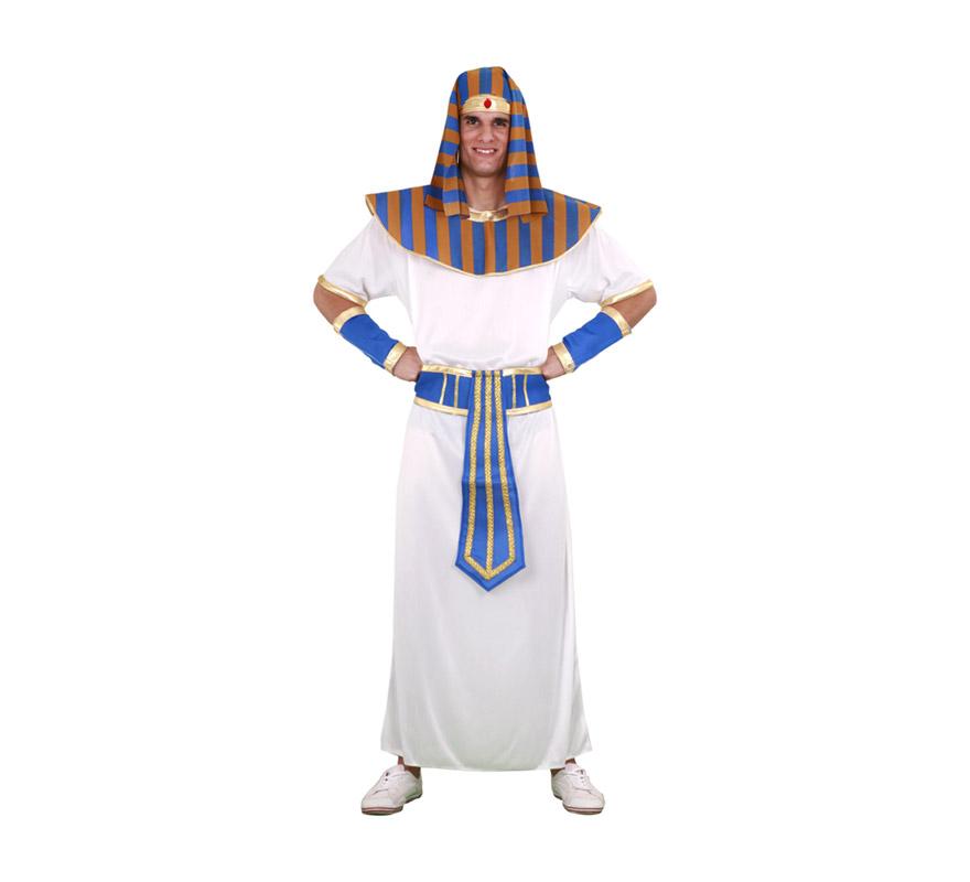 Disfraz de Faraón adulto. Talla Standar M-L = 52/54. Incluye tocado de la cabeza, cuello, túnica, cinturón y muñequeras. Disfraz de Egipcio, Tutankamon o Ramses para hombre.