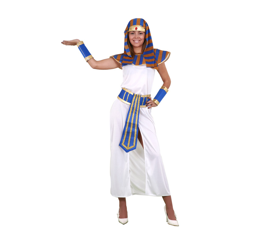 Disfraz de Faraona adulta. Talla Standar M-L = 38/42. Incluye tocado de la cabeza, cuello, túnica, cinturón y muñequeras. Disfraz de Egipcia o Cleopatra para mujer.