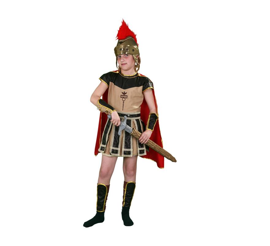 Disfraz de Centurión Romano para niños de 5 a 6 años. Incluye vestido, capa, muñequeras, espinilleras y casco.