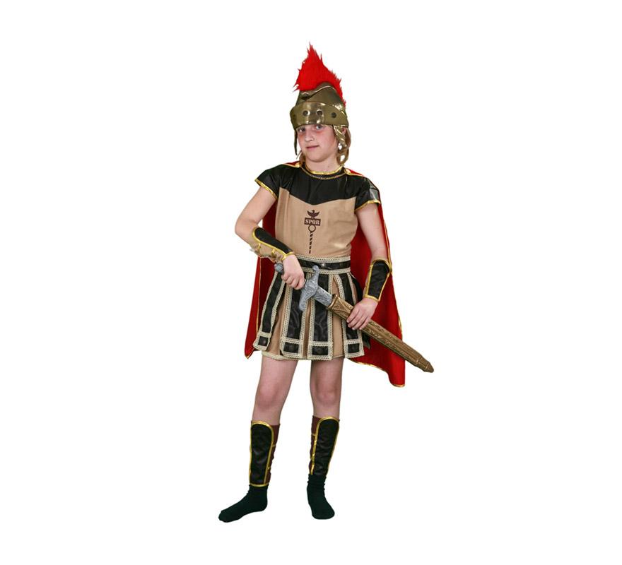 Disfraz de Centurión Romano para niños de 7 a 9 años. Incluye vestido, capa, muñequeras, espinilleras y casco.