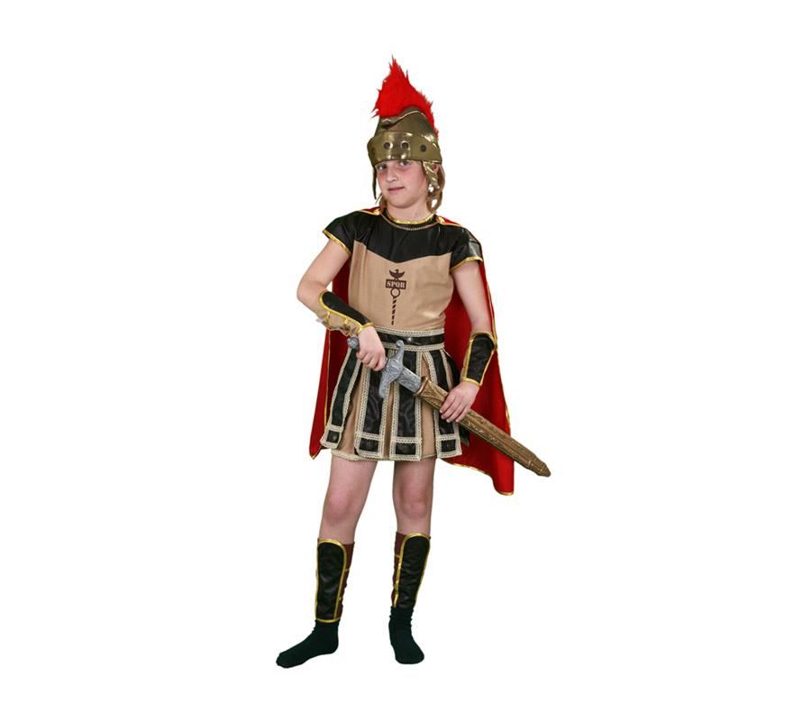 Disfraz de Centurión Romano para niños de 10 a 12 años. Incluye vestido, capa, muñequeras, espinilleras y casco.