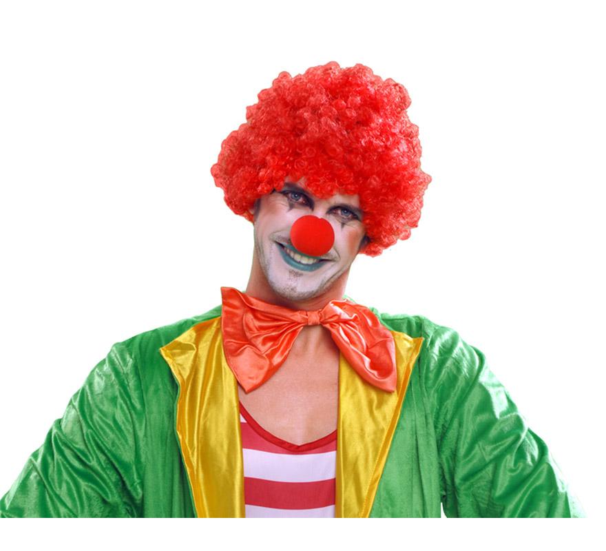 Peluca de Payaso rizada roja adultos para Carnaval. Talla universal de adultos.