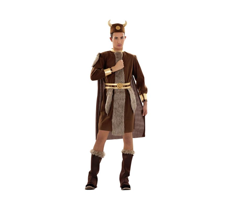 Disfraz de Vikingo adulto. Talla S = 48/52 para chicos delgados y adolescentes. Incluye gorro, traje, capa, cinturón y botas de tela. Éste traje de Bárbaro de hombre es un clásico pero no pasa de moda.