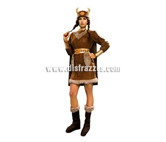 Disfraz de Vikinga para mujer. Talla S = 34/38. Incluye casco de tela, vestido, capa, cinturón y botas de tela. Éste disfraz de Bárbara no pasa de moda, es todo un clásico. Es perfecto para adolescentes de 13-15 años.
