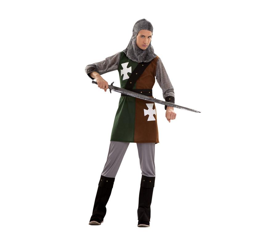 Disfraz de Caballero Medieval para chicos. Talla S = 48/52 ideal para adolescentes y para chicos delgados. Incluye verdugo, casaca, cinturón, pantalones y botas. Espada NO incluida.
