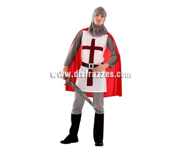 Disfraz de Caballero Medieval para chicos. Talla S = 48/52 ideal para adolescentes y para chicos delgados. Incluye verdugo, casaca, cinturón, pantalones, botas y capa. Espada NO incluida, podrás verla en la sección de Complementos.