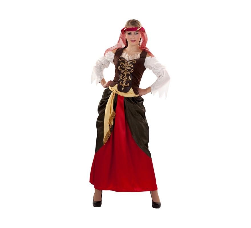 Disfraz de Dama del Renacimiento para chicas. Talla S = 34/38. Incluye tocado, blusa con corpiño, falda y cinturón. Flor NO incluida. También sirve para adolescentes de 13 a 15 años.