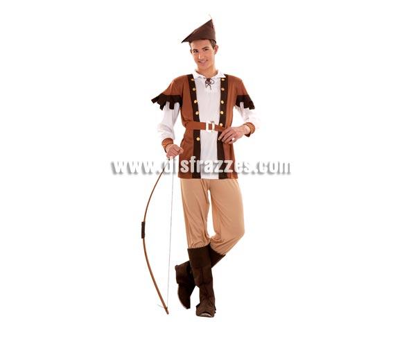 Disfraz de Robin Hood para chicos. Talla S = 48/52 ideal para adolescentes y para chicos delgados. Incluye camisa, pantalón, cinturón, cubrebotas y sombrero. Arco NO incluido, podrás verlo en la sección de Complementos.