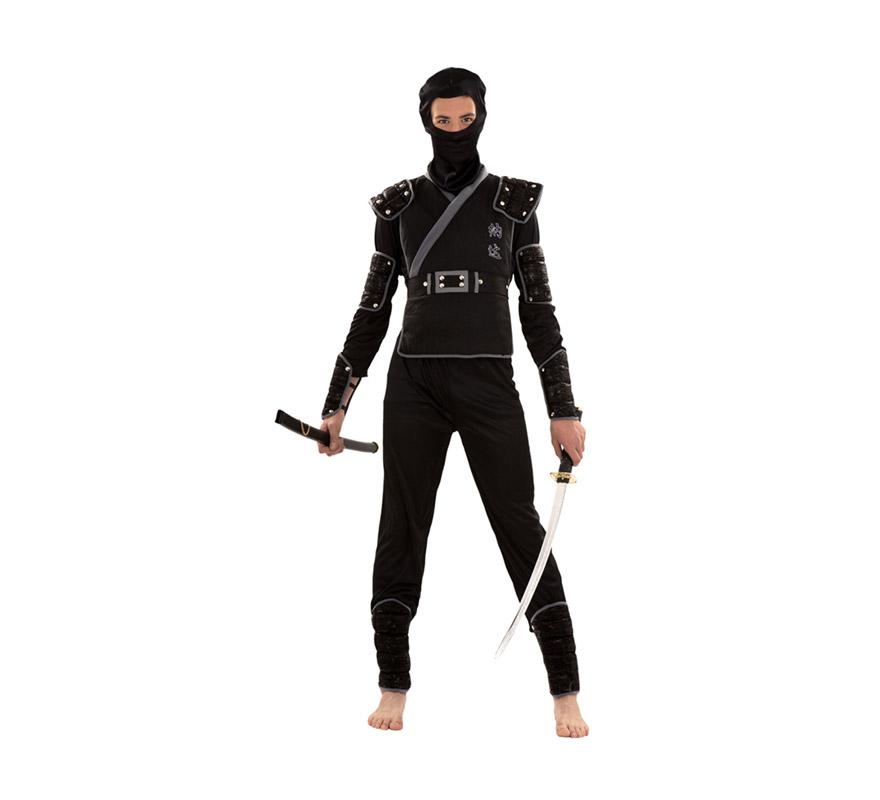 Disfraz de Ninja infantil para Carnaval. Talla S 48/52 para chicos delgados y para adolescentes. Incluye verdugo, camisa, pantalón, peto, cinturón, brazaletes, muñequeras y espinilleras. Espada NO incluida, podrás verla en la sección Complementos.