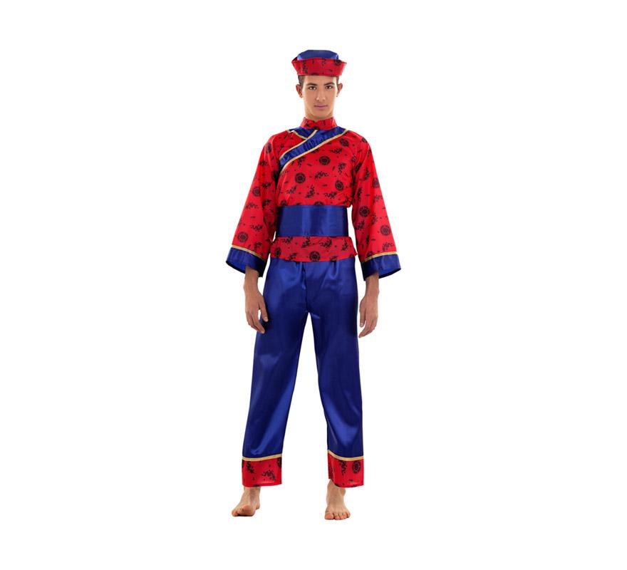 Disfraz de Chino para chicos talla S 48/52 para chicos delgados o para adolescentes. Incluye sombrero, camisa, cinturón y pantalones.