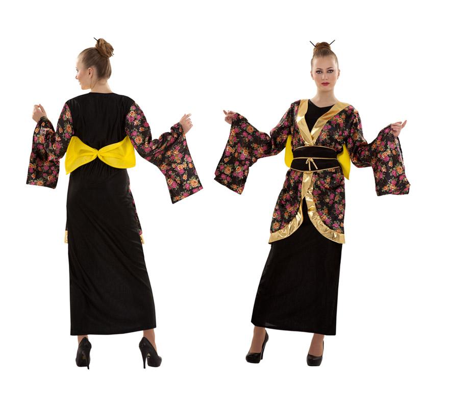 Disfraz de Geisha Estampada barato para Carnaval. Talla S = 34/38 para chicas delgadas o para adolescentes. Incluye vestido, cinturón y lazo.