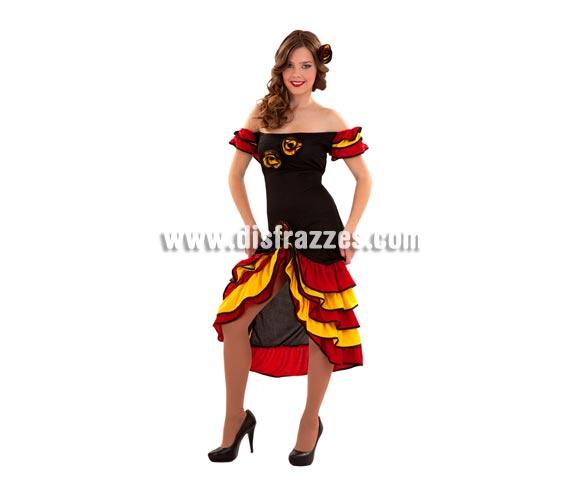 Disfraz de Bailarina de Rumba barato para Carnaval. Talla S =34/38 ideal para adolescentes y para chicas delgadas. Incluye vestido y flor para el pelo. También sirve como disfraz de Rumbera y Andaluza o Sevillana.