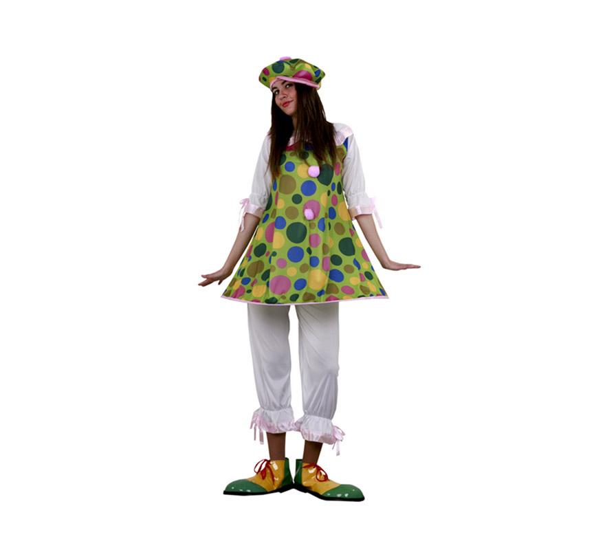Disfraz de Payasa Aro para Carnaval. Talla S de chicas 34/38 y talla adolescentes. Incluye sombrero, camisa con aro y pantalón. Zapatones y calcetines NO incluidos, podrás verlos en la sección de Complementos.