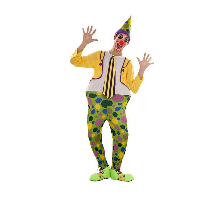 Disfraz de Payaso Aro para hombre talla S = 48/52 para chicos delgados y para adolescentes. Incluye sombrero y mono con aro y corbata. Resto de accesorios NO incluidos, podrás verlos en la sección de Complementos.
