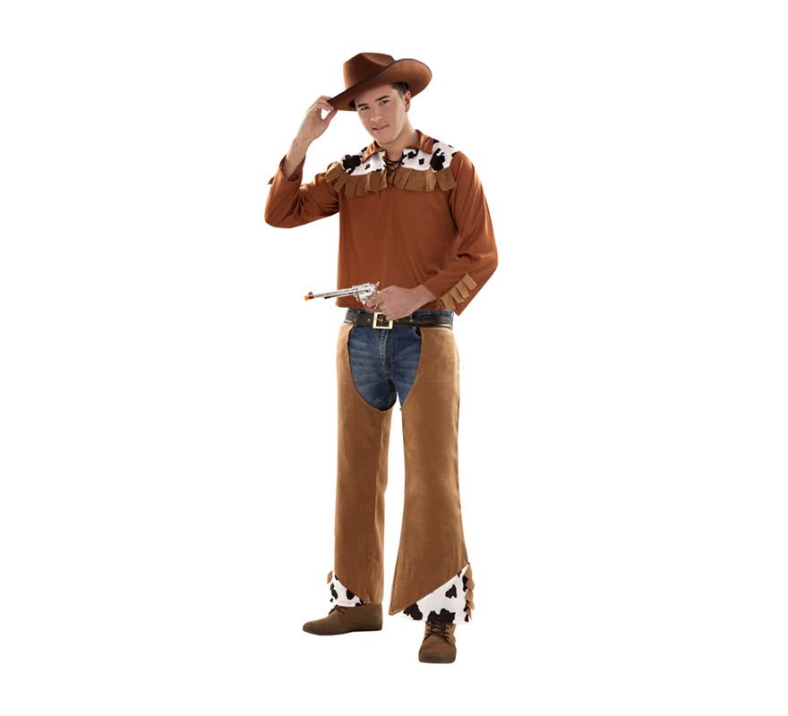 Disfraz barato de Vaquero infantil para Carnavales. Talla S 48/52 para chicos delgados o para adolescentes. Incluye camisa y zahones con cinturón. Pistolas NO incluidas, podrás verlas en la sección de Complementos con la ref. 79619BT. Sombrero NO incluido, podrás verlo en la sección de Complementos.